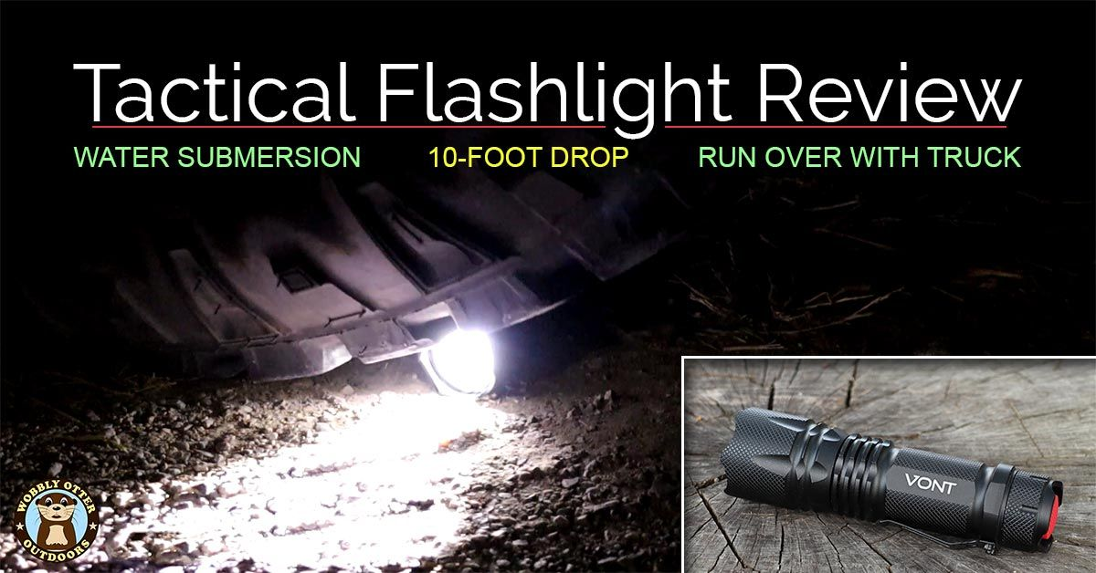 vont flashlight being run over by truck tire - includes nice picture of the flashlight too