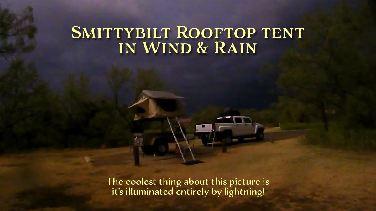 Smittybilt Overlander rooftop tent in wind and rain