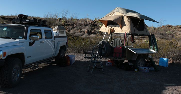 Smittybilt Overlander Rooftop Tent in camp at Big Bend Ranch State Park