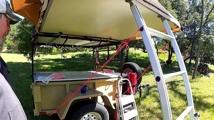 rooftop tent tie down from ladder